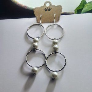 Pearl and O Ring Drop Dangle Earrings - Jewelry